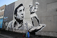 SAO PAULO, SP - 15.02.2017 - ARTE-URBANA-SP - Vista do maior painel de grafite na Am&eacute;rica Latina, o painel da turma do Chaves feita pelo grafiteiro, Paulo Terra, na manha desta quarta-feira (15) no bairro do Socorro, zona sul de S&atilde;o Paulo. A C&acirc;mara Municipal da cidade aprovou na noite de ter&ccedil;a-feira (14) uma lei que prev&ecirc; a puni&ccedil;&atilde;o atrav&eacute;s de multa para pichadores.<br /> <br /> <br /> (Foto: Fabricio Bomjardim / Brazil Photo Press)
