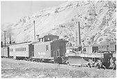 Short caboose #0501 and flanger OH in Durango Yard.<br /> D&amp;RGW  Durango, CO