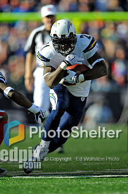 19 October 2008:  San Diego Chargers' running back LaDainian Tomlinson gains 9 yards and a first down in the 4th quarter against the Buffalo Bills at Ralph Wilson Stadium in Orchard Park, NY. The Bills defeated the Chargers 23-14 and maintain their first place position in the AFC East with a 5 and 1 record...Mandatory Photo Credit: Ed Wolfstein Photo