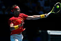 8th January 2020; RAC Arena, Perth, Western Australia; ATP Cup Australia, Perth, Day 6; Spain versus Japan; Rafael Nadal of Spain plays a forehand shot against Yoshihito Nishioka of Japan - Editorial Use