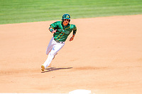 Beloit Snappers outfielder J.C. Rodriguez (6) rounds the bases during a Midwest League game against the Quad Cities River Bandits on June 18, 2017 at Pohlman Field in Beloit, Wisconsin.  Quad Cities defeated Beloit 5-3. (Brad Krause/Four Seam Images)