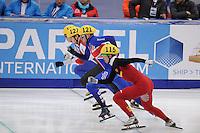 "SHORT TRACK: MOSCOW: Speed Skating Centre ""Krylatskoe"", 13-03-2015, ISU World Short Track Speed Skating Championships 2015, start 500m, Dajing WU (#115 | CHN), Jon ELEY (#121 | GBR), Viktor KNOCH (#127 | HUN), ©photo Martin de Jong"
