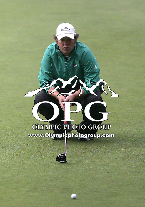21 May, 2010:   Eastern Michigan's Marty Jeppesen sets up for a putt on the12th hole during day two of the NCAA West Regional First Round at Gold Mountain Golf Course in Bremerton, Washington.