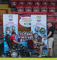 The Dream Factory face painting during the 'Greatest Show on Turf' Celebrity Event - Once in a Blue Moon Events at the London Borough of Barking and Dagenham Stadium, London, England on 8 May 2016. Photo by Andy Rowland.