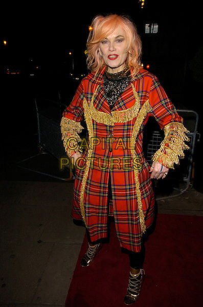 PAM HOGG.Attends A Celebration of Burns' Night at Harvey Nichols, Knightsbridge, London, England,.January 25th 200..full legth red tartan plaid coat gold strappy shoes lace-up fringed.CAP/CAN.©Can Nguyen/Capital Pictures