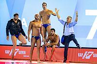 Italian players protests at the end of the match <br /> Proteste Italia per gol non concesso <br /> ESP - ITA Spain (white caps) vs. Italy (blue caps) <br /> Barcelona 26/07/2018 Piscines Bernat Picornell <br /> Men Semifinals <br /> 33rd LEN European Water Polo Championships - Barcelona 2018 <br /> Photo Andrea Staccioli/Deepbluemedia/Insidefoto<br /> <br /> <br /> ESP - ITA Spain (white caps) vs. Italy (blue caps) <br /> Barcelona 26/07/2018 Piscines Bernat Picornell <br /> Men Semifinals <br /> 33rd LEN European Water Polo Championships - Barcelona 2018 <br /> Photo Andrea Staccioli/Deepbluemedia/Insidefoto