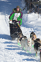 Jaimee Kinzer on Long Lake at the Re-Start of the 2012 Iditarod Sled Dog Race
