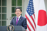 Washington DC, June 7 2018, USA:  President Donald J Trump and Japanese Prime Minister Abe hold a joint press conference in the White House Rose garden.  They discussed the upcoming summit between Trump and North Korean leader Kim.  <br /> CAP/MPI/RS<br /> &copy;RS/MPI/Capital Pictures