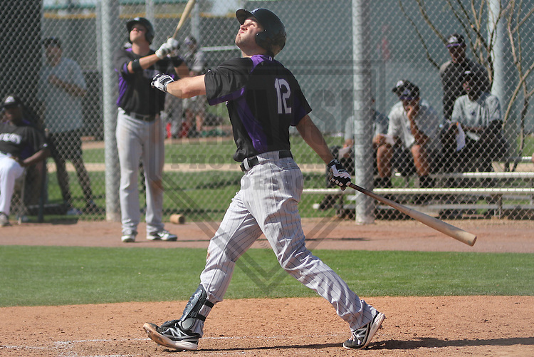 SCOTTSDALE - March 2013: Ryan Wheeler (12)  of the Colorado Rockies during a Spring Training game against the Los Angeles Angels on March 19, 2013 at Salt River Fields in Scottsdale, Arizona.  (Photo by Brad Krause). .