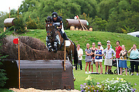 Theodor Wahren (SWE) and Ex2000 jumping some tricky narrow obstacles in the cross country test. Malmo City Horse Show FEI World Cup Eventing Qualifier CIC***.<br /> Eventing in Ribersborg, Malmo, Sweden.<br /> August 2011.<br /> Only for editorial use.