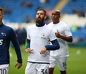 30th September 2017, Cardiff City Stadium, Cardiff, Wales; EFL Championship football, Cardiff City versus Derby County; Former Cardiff City player Joe Ledley of Derby County warms up