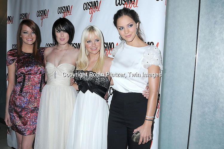 "The cast Emma Stone, Rumer Willis, Anna Faris and Katharine McPhee..posing for photographers at a special screening of ""The Bunny House"" hosted by CosmoGirl, Columbia Pictures and the cast of the movie on August 18, 2008 at the Hearst Tower. ....Robin Platzer, Twin Images"