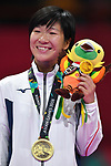 Miho Miyahara (JPN), <br /> AUGUST 27, 2018 - Karate : Women's Kumite -50kg Victory ceremony at Jakarta Convention Center Plenary Hall during the 2018 Jakarta Palembang Asian Games in Jakarta, Indonesia. <br /> (Photo by MATSUO.K/AFLO SPORT)