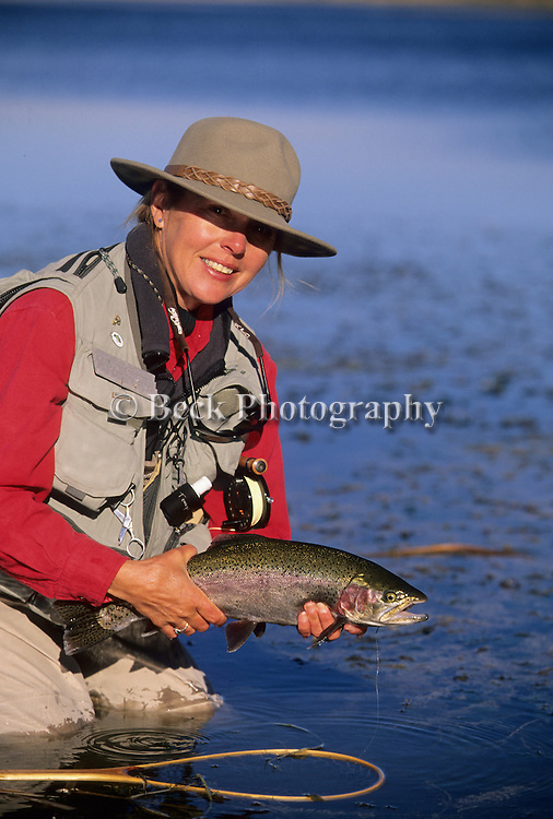 Cathy Beck with a rainbow from Henry's Fork, Idaho.