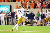 Blacksburg, VA - OCT 6, 2018: Notre Dame Fighting Irish quarterback Ian Book (12) throws a pass during first half action of game between Notre Dame and Virginia Tech at Lane Stadium/Worsham Field Blacksburg, VA. (Photo by Phil Peters/Media Images International)