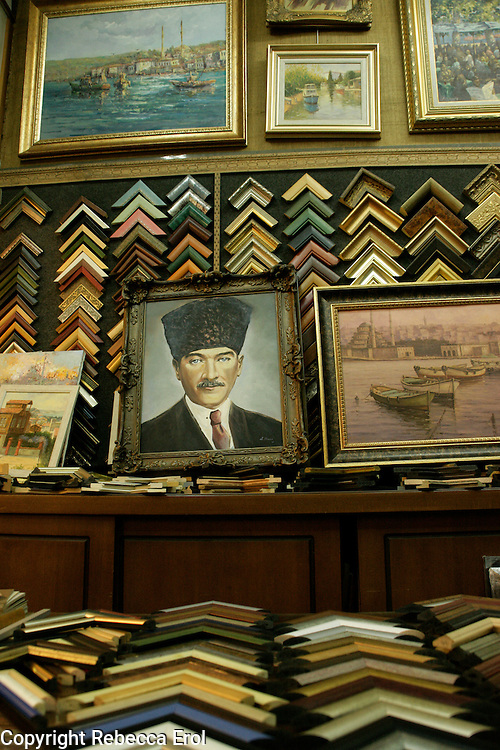 A painting of Ataturk in a picture framers in Beyoglu, Istanbul, Turkey