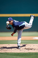 Charlotte Stone Crabs starting pitcher Michael Velasquez (29) delivers a pitch during a game against the Bradenton Marauders on April 9, 2017 at LECOM Park in Bradenton, Florida.  Bradenton defeated Charlotte 5-0.  (Mike Janes/Four Seam Images)