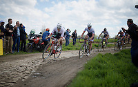 Jasper Stuyven (BEL/Trek-Segafredo) pilotes Fabian Cancellara (SUI/Trek-Segafredo) through the tricky sector 14: Tilloy to Sars-et-Rosières (2.4km)<br /> <br /> 114th Paris-Roubaix 2016