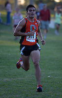 Oct 19, 2013; La Mirada, CA, USA; John Guzman of Occidental places second in the mens race in 25:27 in the SCIAC multi-dual meet at La Mirada Park. Photo by Kirby Lee John Guzman Aguilar