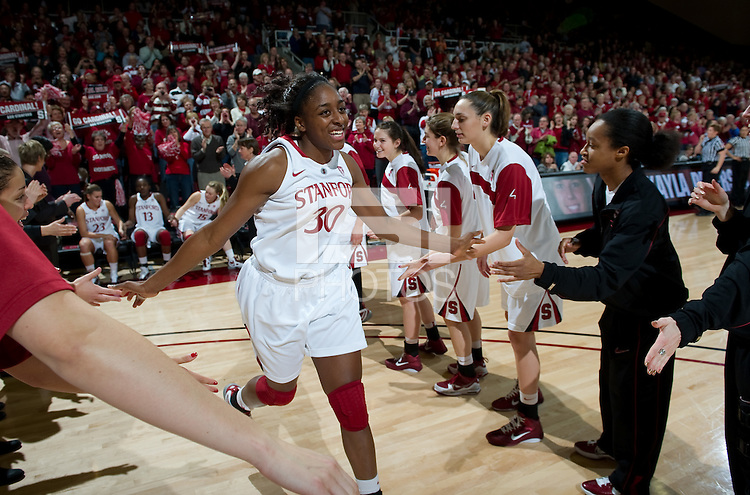 STANFORD CA-DECEMBER 30, 2010: Nnemkadi Ogwumike takes the court before the Stanford 71-59 victory over UCONN at Maples Pavilion.