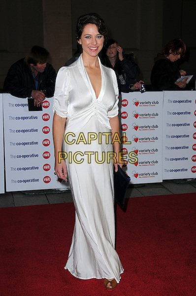 BELINDA STEWART-WILSON .The Co-operative Variety Club Showbiz Awards, Grosvenor House Hotel, Park Lane, London, England, UK, .14th November 2010. .full length white long maxi dress low cut .CAP/CAS.©Bob Cass/Capital Pictures.