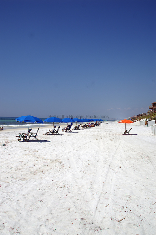 Beach chairs and umbrella wait in line on the beach for the fun to begin.