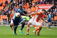 Adebayo Akinfenwa of Wycombe Wanderers looks to collect the loose ball during the Sky Bet League 2 match between Blackpool and Wycombe Wanderers at Bloomfield Road, Blackpool, England on 20 August 2016. Photo by James Williamson / PRiME Media Images.