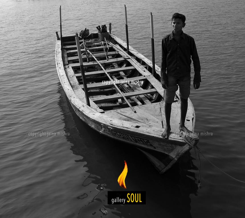 Traditiona wooden boat at Sindhudurg, India