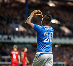 15.08.2019 Rangers v FC Midtjylland: Alfredo Morelos celebrates to his Mrs in the stand