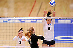 03 DEC 2011:  Katie Habeck (8) of Concordia University St. Paul jumps for a block against Cal State San Bernardino during the Division II Women's Volleyball Championship held at Coussoulis Arena on the Cal State San Bernardino campus in San Bernardino, Ca. Concordia St. Paul defeated Cal State San Bernardino 3-0 to win the national title. Matt Brown/ NCAA Photos