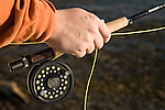 Fly fisherman grips a fly fishing rod