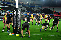 Ospreys players during the pre match warm up<br /> <br /> Photographer Ashley Crowden/CameraSport<br /> <br /> Guinness Pro14 Round 6 - Ospreys v Scarlets - Saturday 7th October 2017 - Liberty Stadium - Swansea<br /> <br /> World Copyright &copy; 2017 CameraSport. All rights reserved. 43 Linden Ave. Countesthorpe. Leicester. England. LE8 5PG - Tel: +44 (0) 116 277 4147 - admin@camerasport.com - www.camerasport.com