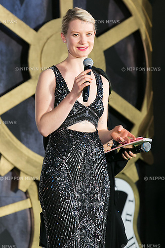 Australian actress Mia Wasikowska (26) speaks during the Japan premiere for the film Alice Through the Looking Glass on June 21, 2016, Tokyo, Japan. Wasikowska wearing a elegant black dress was joined by producer Suzanne Todd and director James Bobin to promote their sequel to Alice in Wonderland (2010) at Roppongi Hills Arena. The film hits Japanese theaters on July 1st. (Photo by Rodrigo Reyes Marin/AFLO)