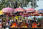 Nakorn Chai Sri, Thailand, March 3, 2012, Wat Bang Phra - monks on stage to chant during the Wai Khru ceremony.