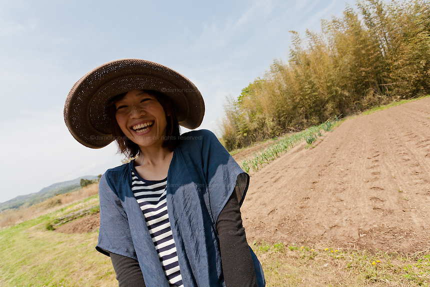 Tomomi Kanno working at the Arigato Farm project, Ogawa Machi, Iwaki, Fukushima, Japan. Sunday May 6th 2012