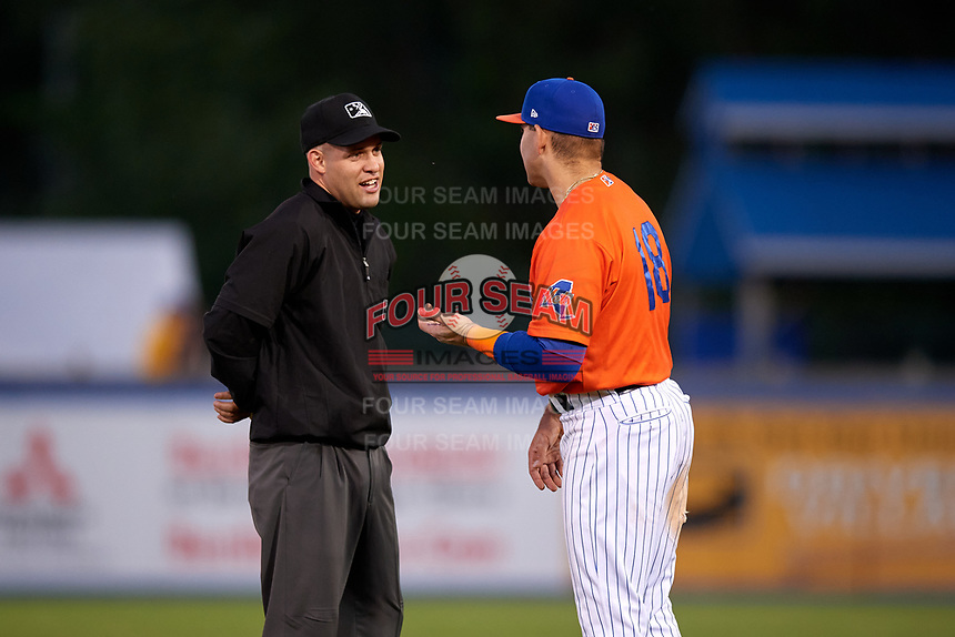 Syracuse Mets Danny Espinosa (18) argues a call with umpire Dan Merzel during an International League game against the Charlotte Knights on June 11, 2019 at NBT Bank Stadium in Syracuse, New York.  Syracuse defeated Charlotte 15-8.  (Mike Janes/Four Seam Images)