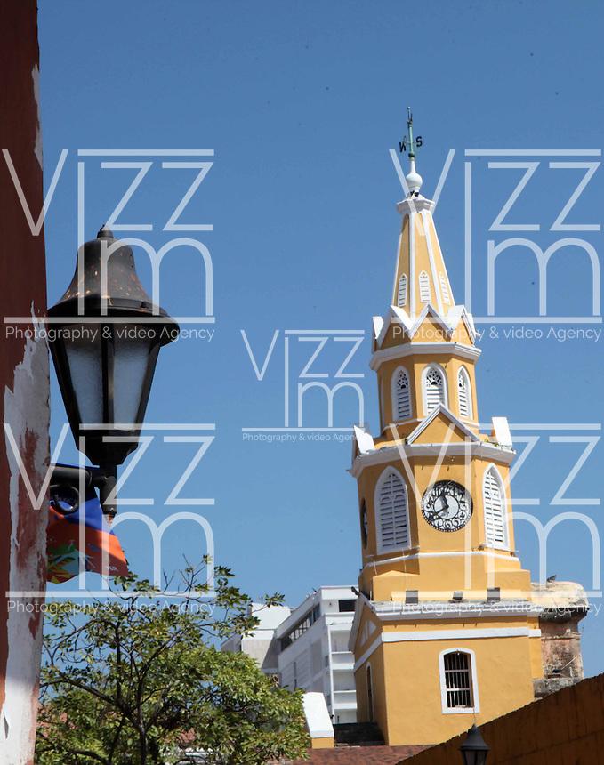 CARTAGENA-COLOMBIA-09-01-2013. Torre del Reloj en la Ciudad Amurallada de Cartagena de Indias, Colombia. Clock Tower in the walled city of Cartagena de Indias, Colombia. (Photo: VizzorImage)......