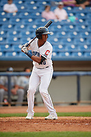 Lake County Captains center fielder Junior Soto (40) at bat during the first game of a doubleheader against the West Michigan Whitecaps on August 6, 2017 at Classic Park in Eastlake, Ohio.  Lake County defeated West Michigan 4-0.  (Mike Janes/Four Seam Images)