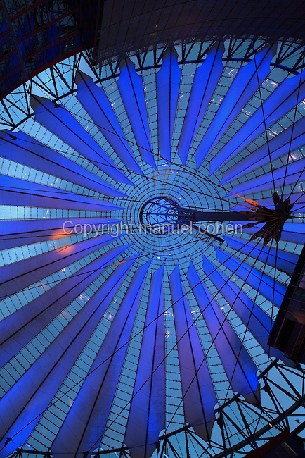 Sail roof of the Sony Center in the evening, designed by Helmut Jahn, on Potsdamer Platz, Berlin, Germany. The building complex opened in 2000 and is home to Sony's European headquarters. Picture by Manuel Cohen
