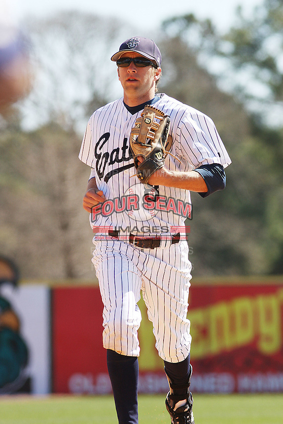 Cory Olson of the University of California at Irvine running in from the field during a game against James Madison University at the Baseball at the Beach Tournament held at BB&T Coastal Field in Myrtle Beach, SC on February 28, 2010.
