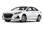 Stock pictures of low aggressive front three quarter view of 2019 Hyundai Sonata SE 4 Door Sedan Low Aggressive