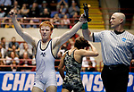 LA CROSSE, WI - MARCH 11: Lucas Malmberg of Messiah celebrates after beating Zachary Beckner of Ferrum in the 125 weight class during NCAA Division III Men's Wrestling Championship held at the La Crosse Center on March 11, 2017 in La Crosse, Wisconsin. Malmberg beat Beckner 5-1 to win the National Championship. (Photo by Carlos Gonzalez/NCAA Photos via Getty Images)