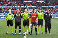 Captains of both teams and referees before the Spanish football of La Liga 123, match between CA Osasuna and  RCD Mallorca at the Sadar stadium, in Pamplona (Navarra), Spain, on Sunday, January 20, 2019.