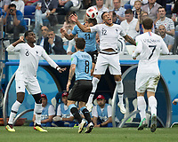 Nizhny Novgorod, Russia- July 6, 2018: Nizhny Novgorod Stadium, Uruguay vs France, quarter-finals, 2018 World Cup.  Final score Uruguay 0, France 2.
