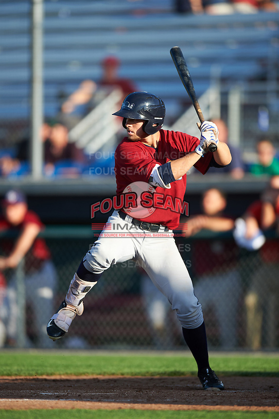 Mahoning Valley Scrappers left fielder Andrew Calica (26) at bat during a game against the Auburn Doubledays on July 17, 2016 at Falcon Park in Auburn, New York.  Mahoning Valley defeated Auburn 3-2.  (Mike Janes/Four Seam Images)