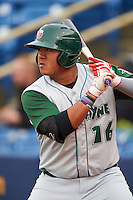 Fort Wayne TinCaps first baseman Trae Santos (16) on deck during a game against the Lake County Captains on May 20, 2015 at Classic Park in Eastlake, Ohio.  Lake County defeated Fort Wayne 4-3.  (Mike Janes/Four Seam Images)