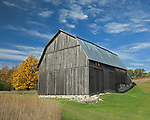Sleeping Bear Dunes National Lakeshore, MI: The Brunson barn with gambrel roof on Thoreson Road in fall.