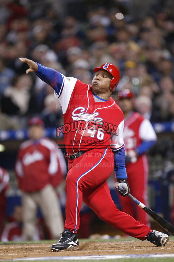 Osmani Urrutia of the Cuban national team during championship game against Japan during the World Baseball Championships at Petco Park in San Diego,California on March 20, 2006. Photo by Larry Goren/Four Seam Images