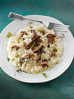 Sauteed wiild organic Pied Bleu Mushrooms (Clitocybe nuda) or Blue Foot mushrooms cooked in butter and herbs Risotto