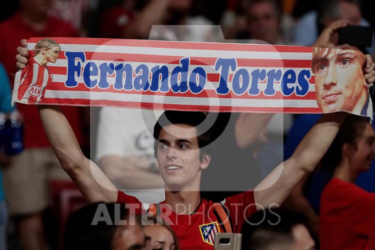 Atletico de Madrid's fan during La Liga match between Atletico de Madrid and Getafe CF at Wanda Metropolitano Stadium in Madrid, Spain. August 18, 2019. (ALTERPHOTOS/A. Perez Meca)